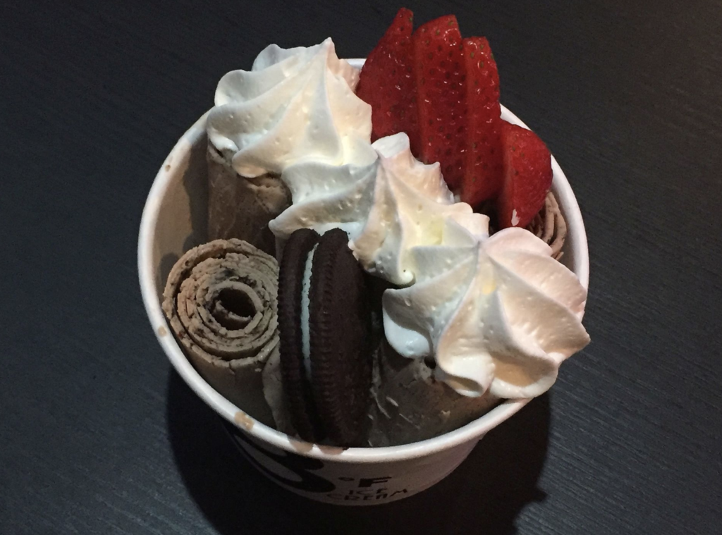 rolled Ice cream in a cup