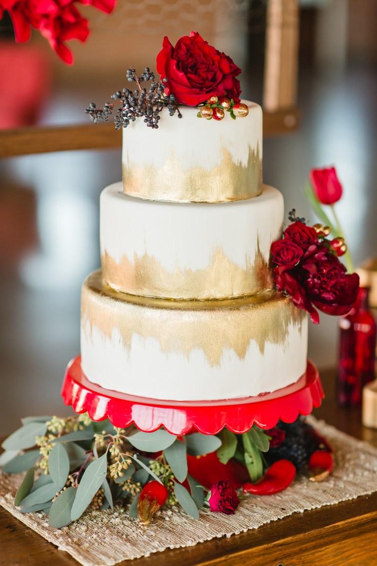 Metallic Gold Ikat Bridal Shower Cake