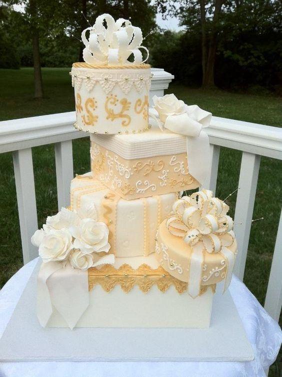 Draped Gift Box Bridal Shower Cake