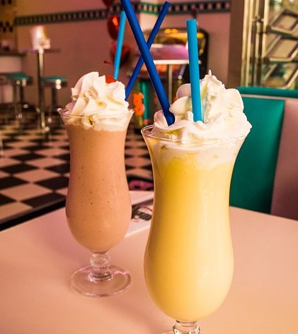 two glasses of yummy milkshake